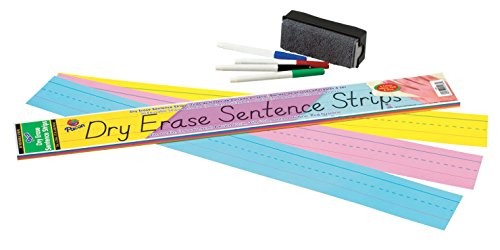 Pacon Dry Erase Sentence Strips, 3-Inches by 24-Inches, Assorted Colors, 30 Strips (5186)