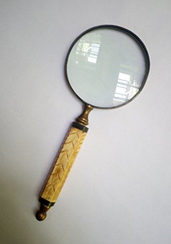 Antique Bone Handheld Magnifier with 4 inch Premium Brass Framed Magnifying Glass with Handcarved Bone Handle | Office Ware Decorative Zooming Lens By Hind Handicraft (Design 1) ()