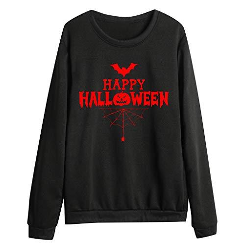 Xinantime Womens Halloween Party Sweatshirt Casual Pumpkin Letter Print Full Sleeve O-Neck Blouse