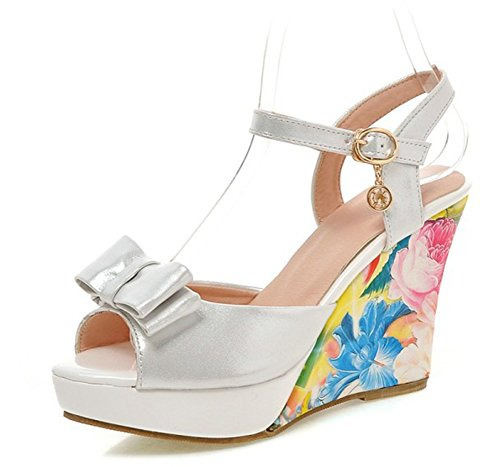 Sfnld Womens Sweet Bowknot Rhinestone Floral Peep Toe Ankle Strap Platform Wedge High Heels Sandals White 7 5 B M  Us
