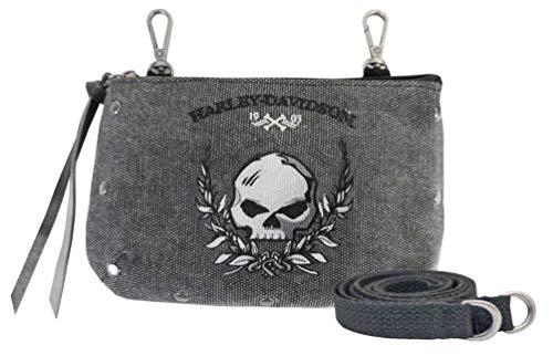 Harley-Davidson Women's Skull Distressed Denim Hip Bag w/Strap WDD5350-BLACK ()