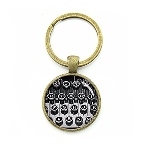 Vintage black white typewriter keychain classic antique tone old typewriter keyring