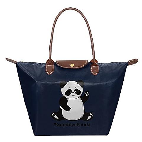 Panda Say Goodbye Foldable Large Tote Bags Shopping Handbags Navy (Wwf Cheetah)