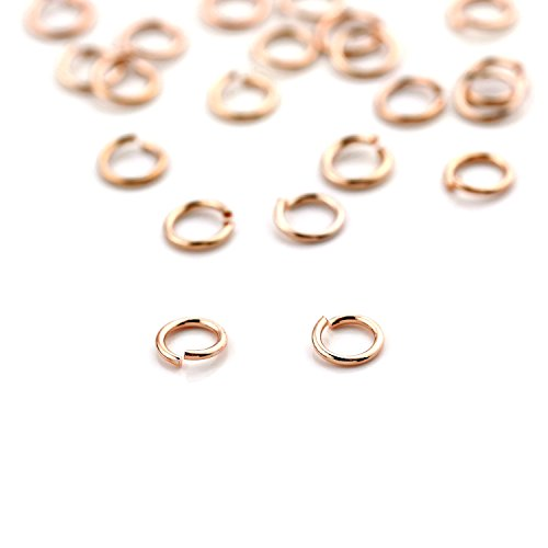 10 Grams (Approx. 300 Pieces) - 23 Gauge 16K Rose Gold Plated Dainty O Shaped Jump Rings Twist and Lock Jump Rings Open Jump Rings - 10GJOD (Rose Gold) (Garnet Glass Block)