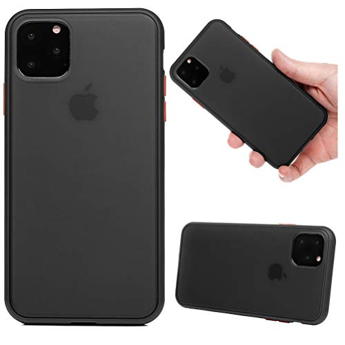 Tom's Village Translucent Soft TPU Case for iPhone 11 Pro Drop Resistant Flexible Soft TPU Rubber Silicone Gel Bumper Frame PC Back Shell Ultra Slim Reinforced Protective Grip Fit Skin Cover Black