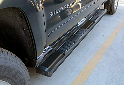 APS Black Carbon Steel OE Style Nerf Bars SideRails Compatible with 2007-2018 Chevy Silverado GMC Sierra 1500 & 2007-2019 Chevy Silverado GMC Sierra 2500 HD 3500 HD Extended Cab Pickup 4-Door