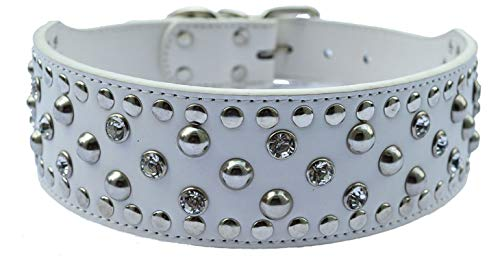 (PG-One Crystal Studded Dog Collar Large Pets 2 Inch Wide Leather Collar for Pitbulls Pet Products Dog Health Supplies Black Pink Red,White,M)