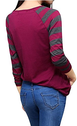 JackenLOVE Manches T Col Haut Raye V Casual Vin Chemisiers Shirt Longues Rouge Tops Fashion Femmes pissure Blouses 7Hwqrn17X
