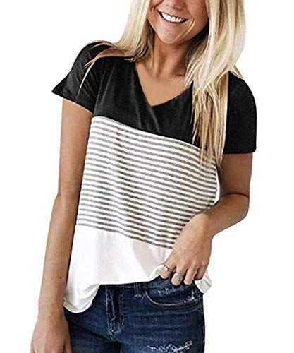 VYNCS Womens Short Sleeve V Neck Blouse Tunic Tops Triple Color Block Stripe T-Shirt (Black, XX-Large) ()