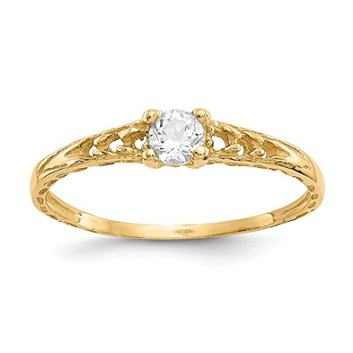 ICE CARATS 14kt Yellow Gold 3mm White Topaz Birthstone Baby Band Ring Size 3.00 April Fine Jewelry Ideal Gifts For Women Gift Set From (Babys 14kt Gold Birthstone Ring)