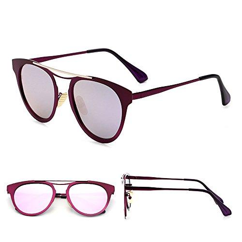Sol de Gafas Sol Redonda de los Hombres la D Gafas C Conducción de Gafas Señoras Las Color de Gafas de Cara Sol Coreanas de Tendencia de 77pAq