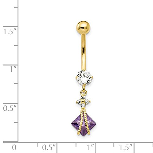 10k Yellow Gold Textured Polished Open back Screw back With Dangle 6mm Sq Amy Cubic Zirconia Belly Ring Dangle by JewelryWeb (Image #1)