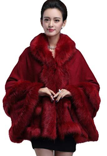 PENER Women's Faux Fox Fur Trim Hooded Cape Wool Blend Cloak Winter Warm Coat Plus Size (Maroon)]()