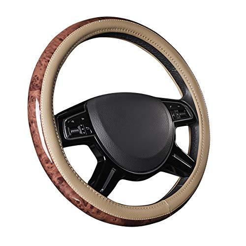 (CAR PASS Universal Fit Full Wood Grain Leather Steering Wheel Covers Fit for Suvs,Trucks,Sedans, Anti-Slip Design … (Beige))