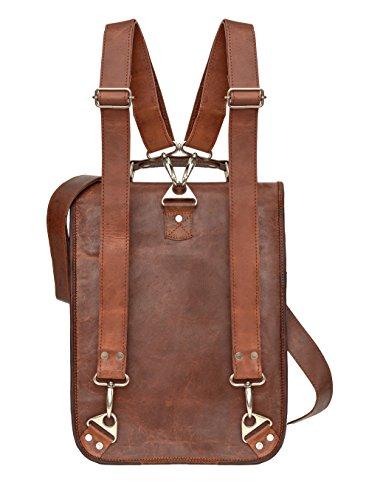 81stgeneration Men's Women's Genuine Large Leather Vertical Messenger Style Backpack Shoulder Bag by 81stgeneration (Image #1)
