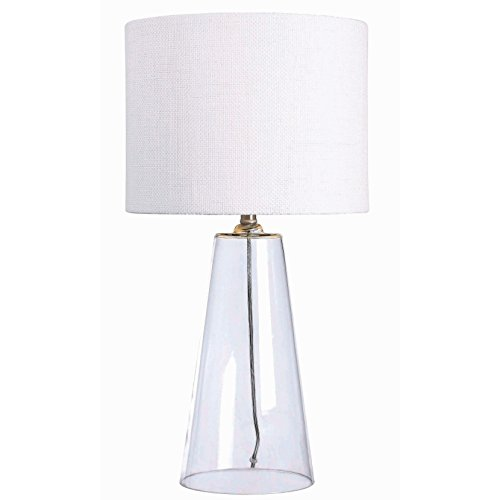 Modern 29 Inch Clear Glass Base Accent Table Lamp with Drum Shade - Includes Modhaus Living Pen