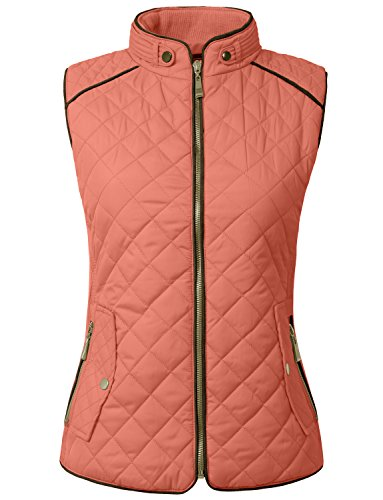 NE PEOPLE Womens Lightweight Quilted Zip Up Stand Collar Padded Vest S-3XL ()