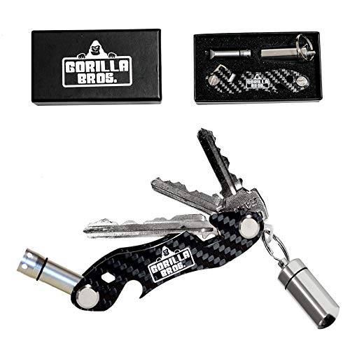 Gorilla Bros. Carbon Fiber Keychain Organizer - Ultra Lightweight Keychain Ring - Expandable Pill Keychain Can Hold 20+ Keys, Features a Bottle Opener, Cellphone Holder, LED Light, 28 Accessories ()