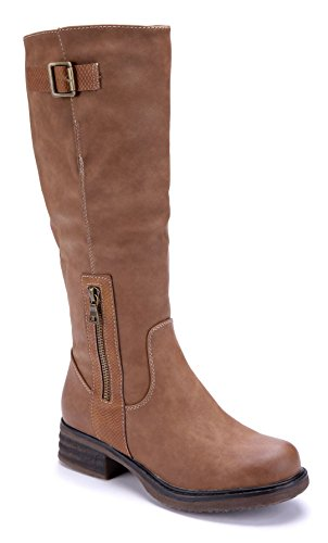 Schuhtempel24 Damen Schuhe Klassische Stiefel Stiefeletten Boots Blockabsatz Schnalle/Used Look 4 cm Camel