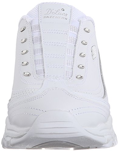 Skechers Sport D'lites Resbalón-en la zapatilla de deporte de la mula blanco / plateado