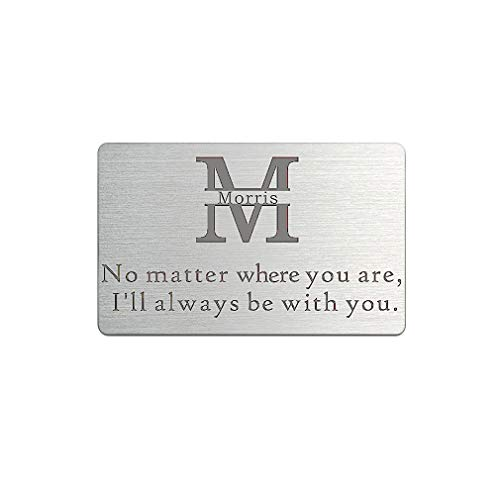 Wallet Insert Card Engraved Name Monogram Initial Personalised Hand Stamped wedding gifts (No Matter Where you are, I will Alwasy be with you) by ZUNON