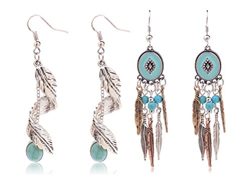 l Drop Earrings Teardrop Imitation Turquoise Plated Alloy Dangle Earrings (Leaf 1+Leaf 4) ()