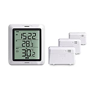 ECOWITT WH0281A Wireless Indoor Outdoor Thermometer Digital Temperature Monitor with 3 Remote Sensors