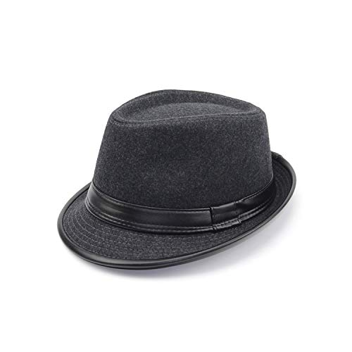 winkstores] 2017 England Style Fedora Jazz Hat Men Vintage Wool Felt Winter Hat Panama Cap Z-5312,Gray with -