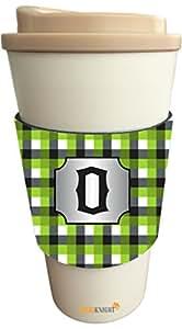 """Rikki Knight–letra """"o inicial verde negro y gris diseño de cuadros Get Well Soon Latte bebida Insulator, negro"""