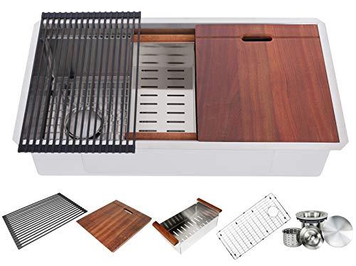 32 inch Single Bowl Ariel Enthous Workstation Undermount 16 Gauge Stainless Steel Kitchen Sink w/Integrated Ledge, 15mm Tight Radius, Premium Accessories - Dish Rack, Colander, Cutting-board, Grid