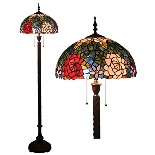 DSHBB Floor Lights, 16 inch Tiffany Style Floor lamp with Stained Glass Colorful Rose lampshade, Contemporary Bright Reading Lamp for Living Room, Office, E27 40W (Rose Glass Pendant Light)