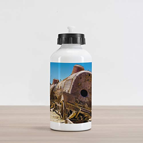 uminum Water Bottle, Rusty Old Abandoned Steam Train Locomotive Cemetery Railroad Wreck Picture Print, Aluminum Insulated Spill-Proof Travel Sports Water Bottle, Blue Brown ()