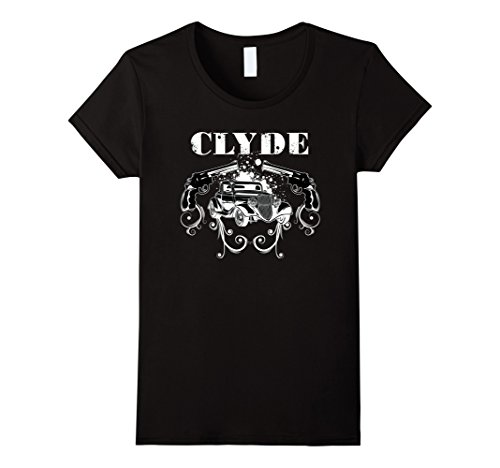 Womens Clyde The Famous Gangster, Matching Couples Halloween Tshirt Medium (Famous Couple Costumes Ideas)