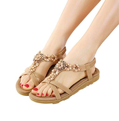Sandalias de vestir para mujer - Sandalias planas etnicas con cuentas chanclas de playa - Zapatos peep toe de verano Albaricoque