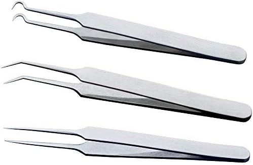 GUOJIAYI 3PCSピンセット3種類のマニキュア/フェイスケア/まつげエクステンションにきびにきび傷にきび除去ツール