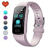 PUBU Fitness Tracker, IP67 Waterproof Fit Watch with Heart Rate Monitor,Sleep Monitor, Pedometer Watch for Women Men Kids (Misty Rose)
