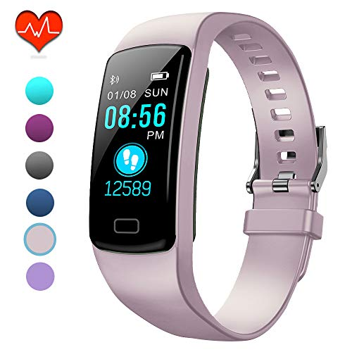 PUBU Fitness Tracker, IP67 Waterproof Fit Watch with Heart Rate Monitor,Sleep Monitor, Pedometer Watch for Women Men Kids (Misty Rose)