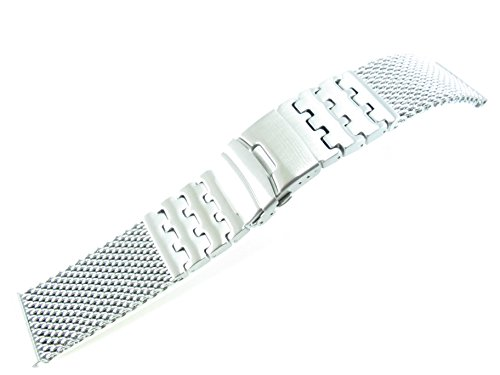 26mm Stainless Steel Mesh Bracelet Watch Band 1226WWSL Silver Black 1N14 Gold Rose Gold Titanium (Silver) ()