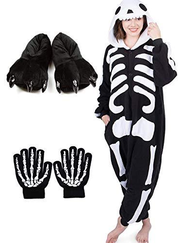 ReachMe Adult Animal Onesies Pajamas Stitch Skeleton Dinosaur Costumes Loungwear Pjs(3 Black,M) ()