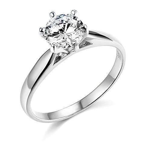 .925 Sterling Silver Rhodium Plated Wedding Engagement Ring - Size 5 - Sterling Silver Engagement Plated Ring
