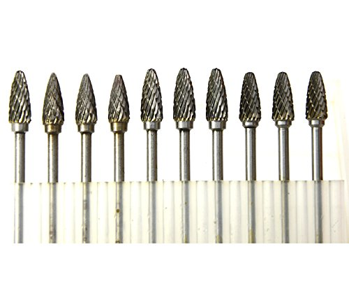 Wokesi 10Pcs 1/4''Cutter,3mm Shank,Type E,Tungsten Carbide Rotary Burr Set Taper Points Grinding Head Fit Dremel Engraving Bits Cutting Endmills Micrograin Solid Tools Buffing Burrs