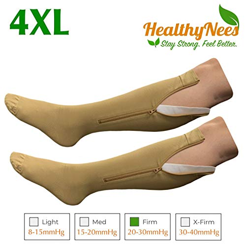 (HealthyNees Closed Toe Extra Big Wide Calf Shin Plus Size 20-30 mmHg Compression Grade Leg Length Swelling Circulation Women Men Socks (Beige with Zipper, Wide Calf 4XL))