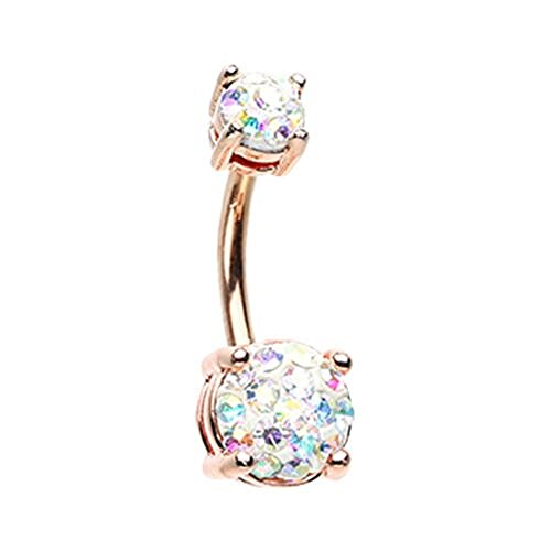 Rose Gold Sprinkle Dot Multi Gem Prong Set WildKlass Belly Button Ring (Gauge Gem 16 Dangle)