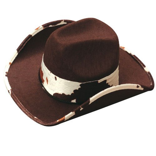 [US Toy - Cowboy Hat With Cowskin Trim, Brown , 5.5
