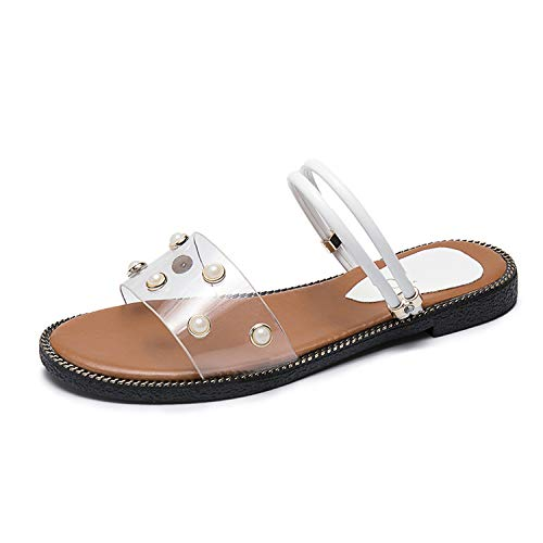 Milk Maniac Sandals Women Shoes Rivet Flat Heel Crystal Girl Beach Shoes Women Sandals Female 2019,White,8.5 ()