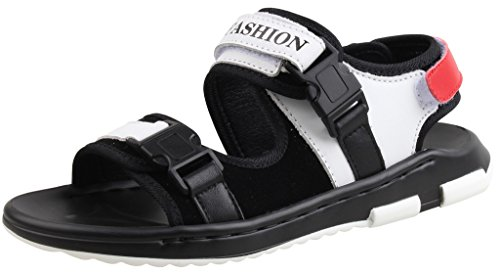 LIYZU Boy's Leather Two-Strap Outdoor Sport Sandals (Toddler/Little Kid/Big Kid) US Size 2 White (Shoe Leather 2 Campus)