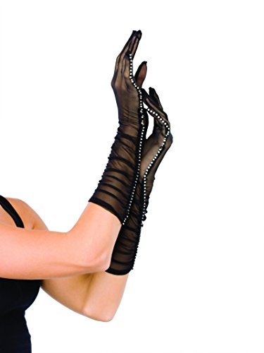 - Black Elbow Length Gloves Ruched Rhinestone Crystal Sheer Mesh Fancy Dress Prom Ball (One Size)