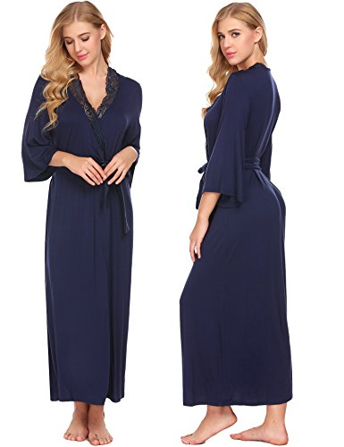 Aimado Women's Soft Long Sleewpear Full Length Wrap Robe Bathrobe Solid Dress(Navy Blue, Medium)