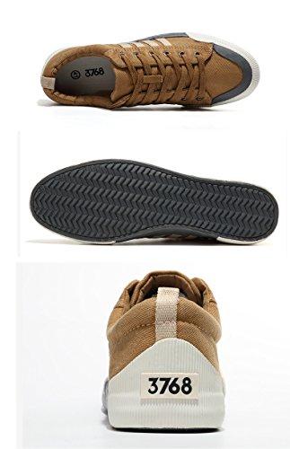Honeystore Unisex Sneaker Low Damen Herren Turnschuhe Übergrößen Basic Freizeitschuhe Stoffschuhe Metallic Glitzer Schuhe Khaki