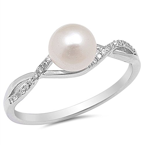Clear CZ Simulated Pearl Infinity Knot Ring New .925 Sterling Silver Size 5 ()
